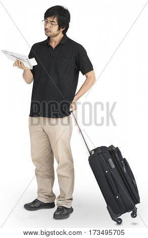 Asian Man Traveling Map Luggage