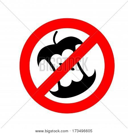 Stop Littering.  Ban Garbage. It Is Forbidden To Litter. Apple Core In Red Circle Road Sign.
