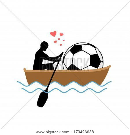 Lover Soccer. Guy And Football Ball Ride In Boat. Lovers Of Sailing. Romantic Date. Love Sport Play
