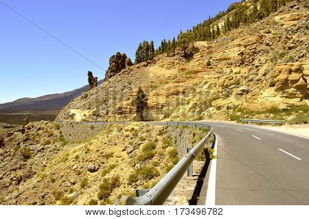 Boca Tauce in Mount Teide National Park counrty road