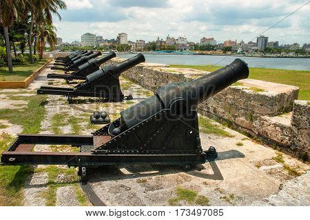 Havana, Cuba, July, 11, 2006. - The Cannons of Morro Castle, guard the entrance to Havana Bay.