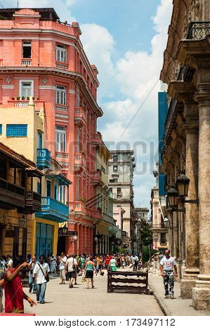 Havana, Cuba, July, 11, 2006. - The Hotel Ambos Mundos, it is a frequent tourist destination because it was home to the popular writer Ernest Hemingway for seven years in the 1930s.