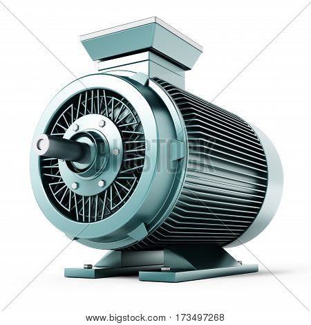 Generic electric motor isolated on white background. 3D illustration.