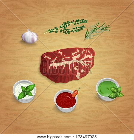 A piece of raw organic marble beef with herbs and sauces on the board. For use as logos on cards in printing posters invitations web design and other purposes.