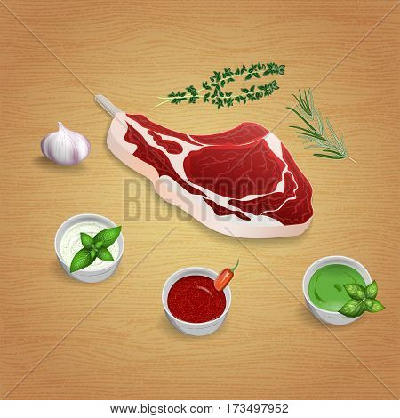 Crude organic lamb cutlet on the bone with herbs and sauces on the board. For use as logos on cards in printing posters invitations web design and other purposes.