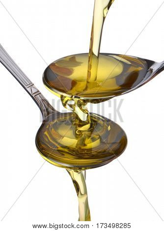 Cooking oil pouring into spoon