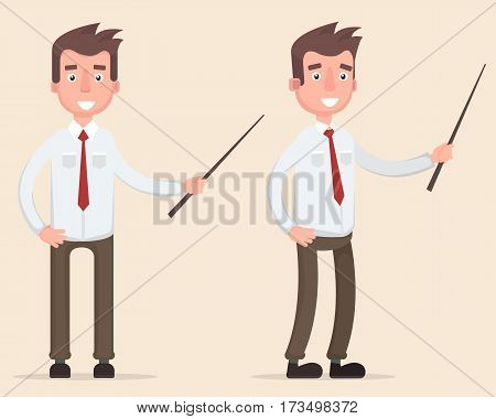 Standing businessman teacher pointing with wooden pointer stick. Vector illustration in a flat style