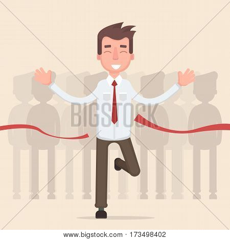Businessman crossing finish line and tearing red ribbon finishing first in a business market competition race. Vector illustration in a flat style
