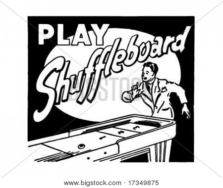 Play Shuffleboard - Retro Ad Art Banner