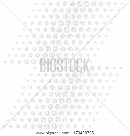 Scattered aligned grey handdrawn spots isolated on light background seamless texture. Vector illustration