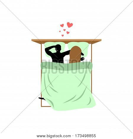 Lover Skateboarding. Skateboard And Skateboarder In Bed. Lovers Bedroom. Romantic Date.  Love Extrem