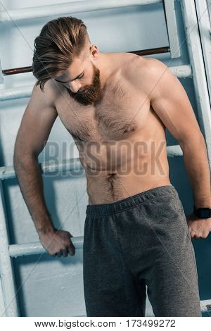 portrait of shirtless sporty man in gym