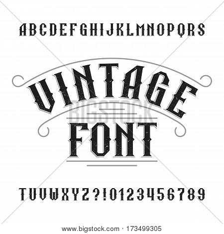 Vintage alphabet. Retro distressed letters and numbers. Western font for labels, headlines, posters etc. Stock vector typeface for your design. poster