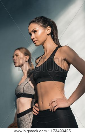 low angle view of confident sporty women in sportswear