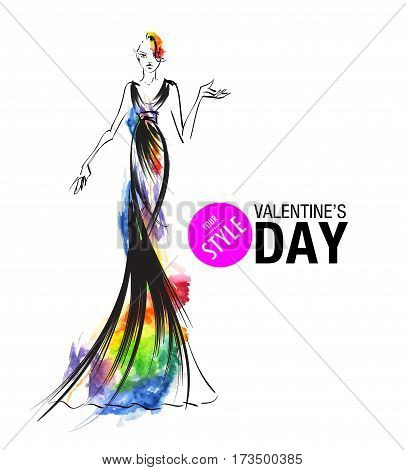 Fashion sketch of Valentine's Day. Stylish girl on on a white background.
