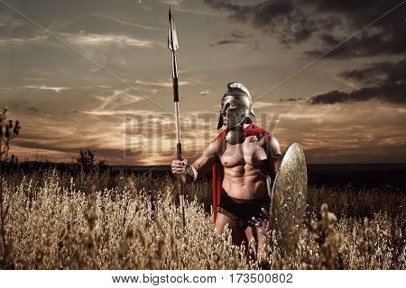 Fighter by nature. Sepia toned shot of a roman legionary soldier in a helmet and a cape holding a spear and a shield posing confidently alone in the field beautiful dusk on the background copyspace