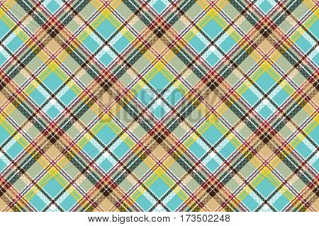 Blue madras pixel texture color fabric seamless pattern. Vector illustration.