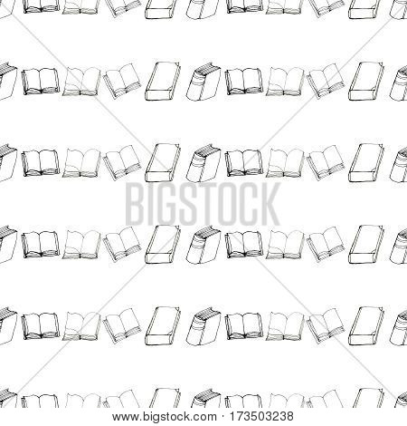 Seamless vector doodle pattern with rows of books. Library hand drawn sketchy background. Reading and education concept. Black and white.