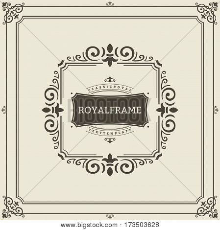 Vector Frame Template. Vintage Ornament Greeting Card. Flourishes Ornament Retro Royal Luxury Invitation, Certificate with place for your Text. Ornamental Frame.
