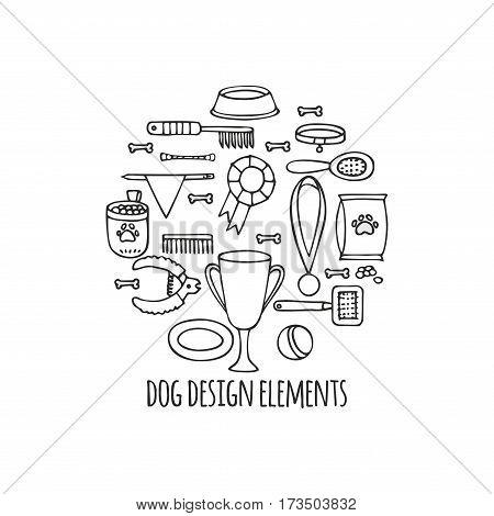 Doodle isolated set of dog items elements. Pet icons walking, feeding, grooming salon equipment