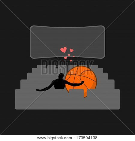 Lover Basketball. Guy And Ball In Movie Theater. Lovers Watching Cinema. Romantic Date. Love Sport P
