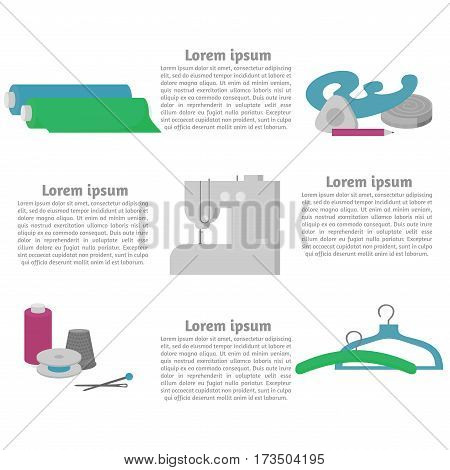 Sewing workshop equipment. Flat tailor shop design elements. Tailoring industry dressmaking tools icons. Fashion designer sew items template.
