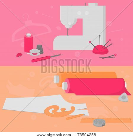 Sewing workshop equipment. Flat tailor shop design elements. Tailoring industry dressmaking tools icons. Fashion designer sew items horizontal banner.
