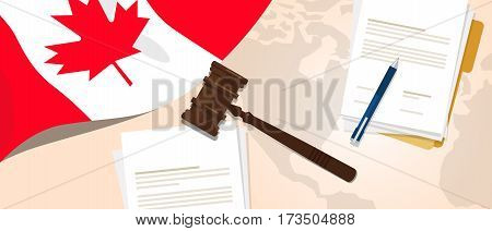 Canada law constitution legal judgment justice legislation trial concept using flag gavel paper and pen vector