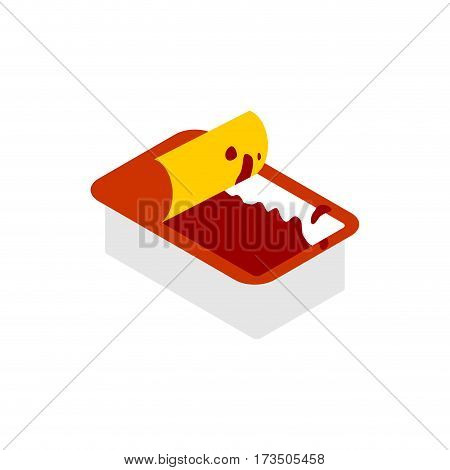 Open Ketchup Dip Pack  Isolated. Sauce For Fast Food On White Background