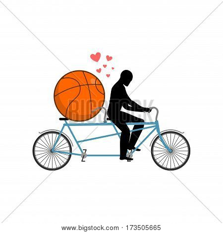 Lover Basketball. Guy And Ball On Tandem. Lovers Of Cycling. Man Rolls  Bicycle. Joint Walk On Stree