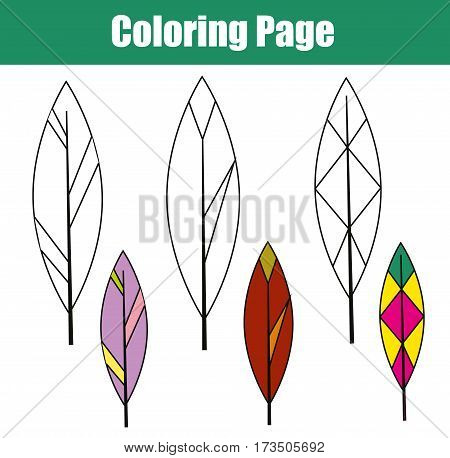 Coloring page with bird feathers. Children educational game. Drawing kids activity