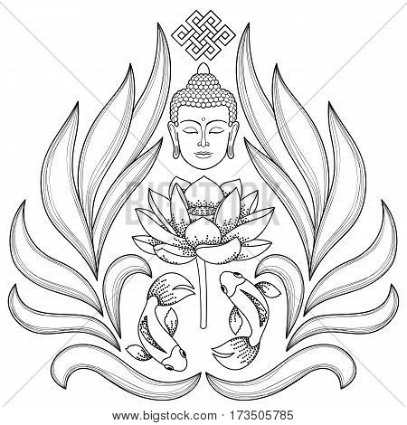 Buddha Head with endless knot, lotus, fishes on white background. Tattoo with buddhism symbols. Coloring page.