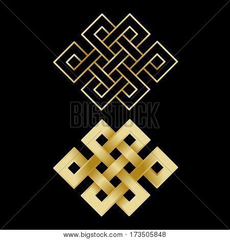 Gold endless knot on black background. Buddhism symbols.