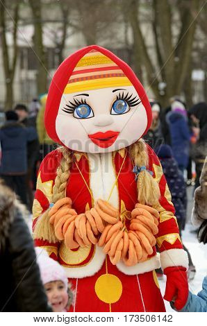 25.02.2017 .Russia.Saint-Petersburg.Beautiful doll represents the imminent arrival of warm spring.