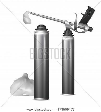 Set with bottles with construction foam. Mock Up template bottle pu foam for design. Vector  illustration