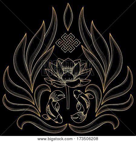 Gold Buddhism Symbols endless knot, lotus, fishes on black background.