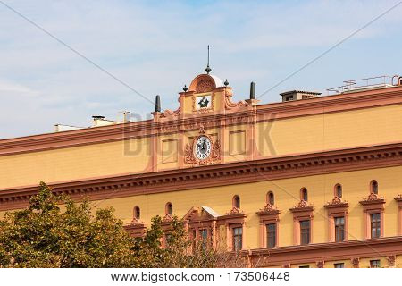 Closeup of the Lubyanka Building former KGB headquarters in Moscow Russia.