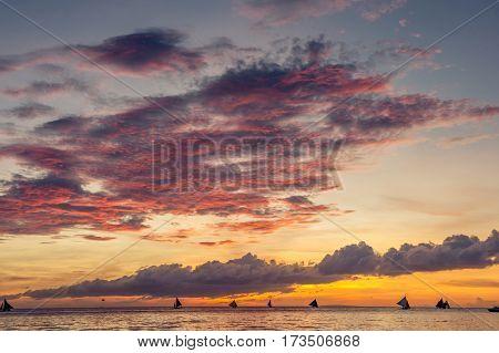 Beautiful sunset at Boracay beach at Philippines