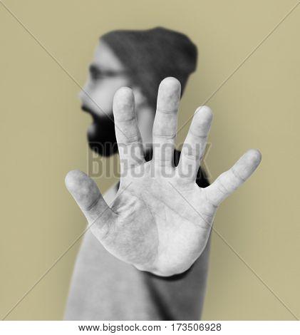 Caucasian Man Stop Hand Sign Portrait
