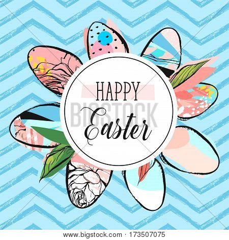 Hand drawn vector abstract creative Happy Easter greeting card design template with painted Easter eggs collection and Happy Easter phase isolated on blue color trendy zig zag line chevron background.