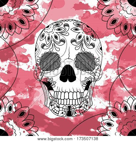 Line art hand drawing black skull isolated on white background with dark red watercolor blots. Doodle style. Tatoo. Zenart. Zentangle.Coloring for adults. Vector illustration.