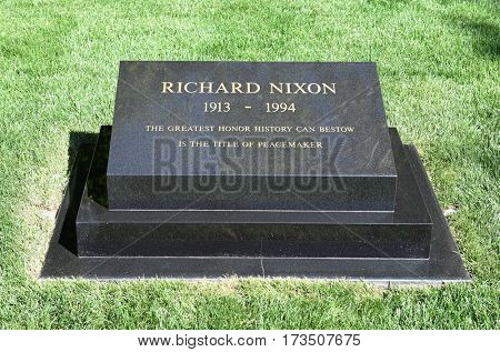 YORBA LINDA, CALIFORNIA - FEBRUARY 24, 2017: President Richard M Nixon Grave marker. The 37th president and his wife are buried at the Nixon Library and Birthplace.