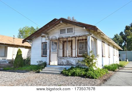 IRVINE, CALIFORNIA - FEBRUARY 24, 2017: Unrestored Row House at the Irvine Ranch Historic Park. Thepark has 24 original ranch structures that represent the agricultural history of Orange County.