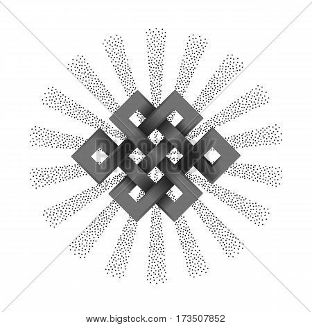 Silver endless knot with beam of light on white background. Buddhism symbol.