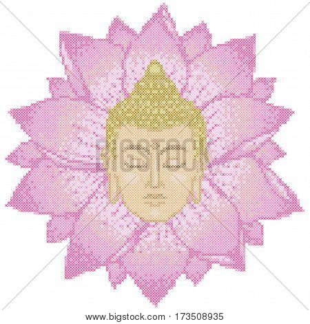 Cross Stitch of Buddha Head and Lotus isolated on white background. Pattern for scheme about 120x120 sells and 12 basic colors.