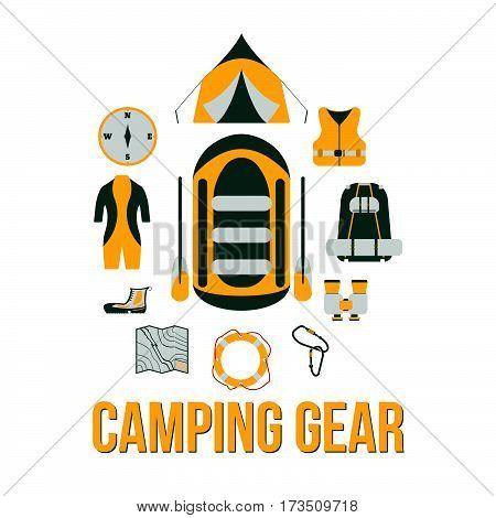 Camping Gear. Tourism Equipment. River Boat Trip Web Elements. Vector Illustration.