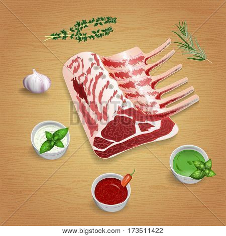 Crude organic lamb chops with herbs and sauces on the board. For use as logos on cards in printing posters invitations web design and other purposes.