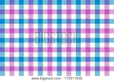 Pink blue check fabric texture background seamless pattern. Vector illustration. EPS 10.