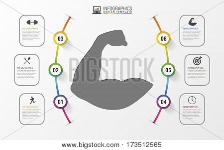 Fitness statistics and infographics with biceps. Vector illustration