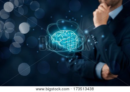Brain representing artificial intelligence (AI), machine deep learning, creativity, headhunter, innovation and intellectual property rights.